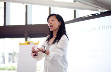 "2016 Kellogg School of Management Reunion. Esther Choy holds her workshop, ""What Stories Are You Telling at Reunion,"" at the Allen Center Atrium on May 13, 2016 in Evanston, IL. Photography by Eddie Quinones."
