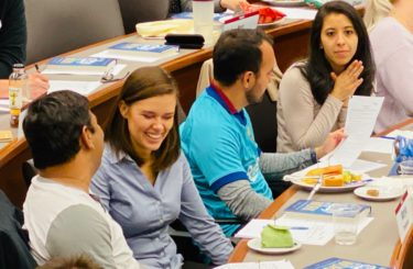 Using storytelling to deepen small talk at a Leadership Story Lab training.