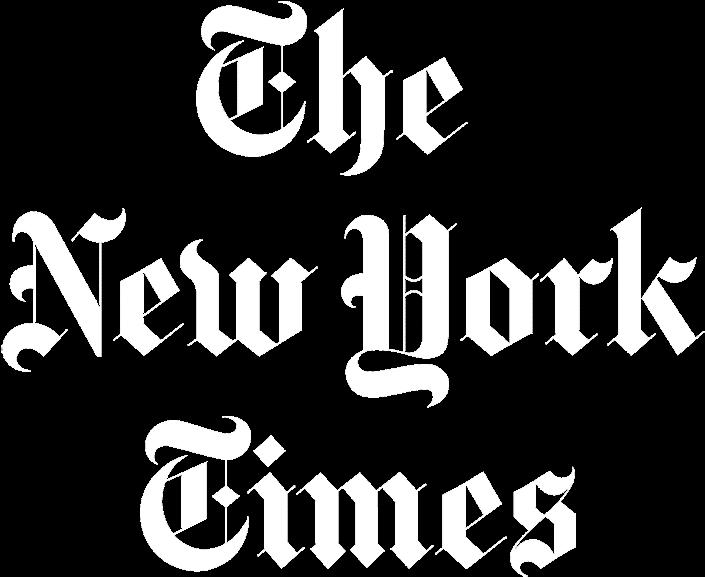 The NYT logo white
